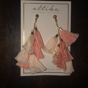 Ettika pompom tassel earrings